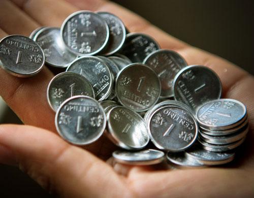 monedas de un centimo de sol